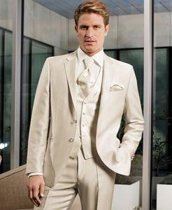 Cream Wedding Suit Groomsmen Suits Groom Attire Mens