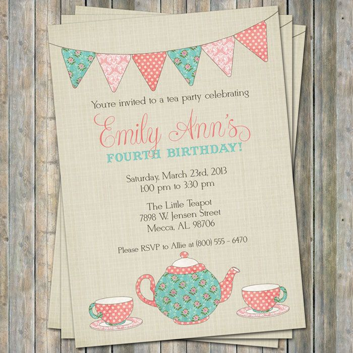 Tea Party Birthday Invitation Time for tea birthday little girl – Diy Girl Birthday Party Invitations