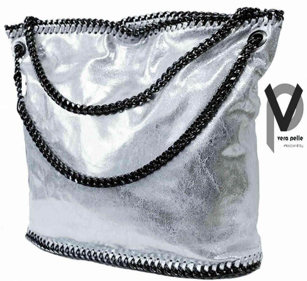 Vera Pelle Beuteltasche 35cm Lackleder Silber Antrazith Trageriemen Apropos
