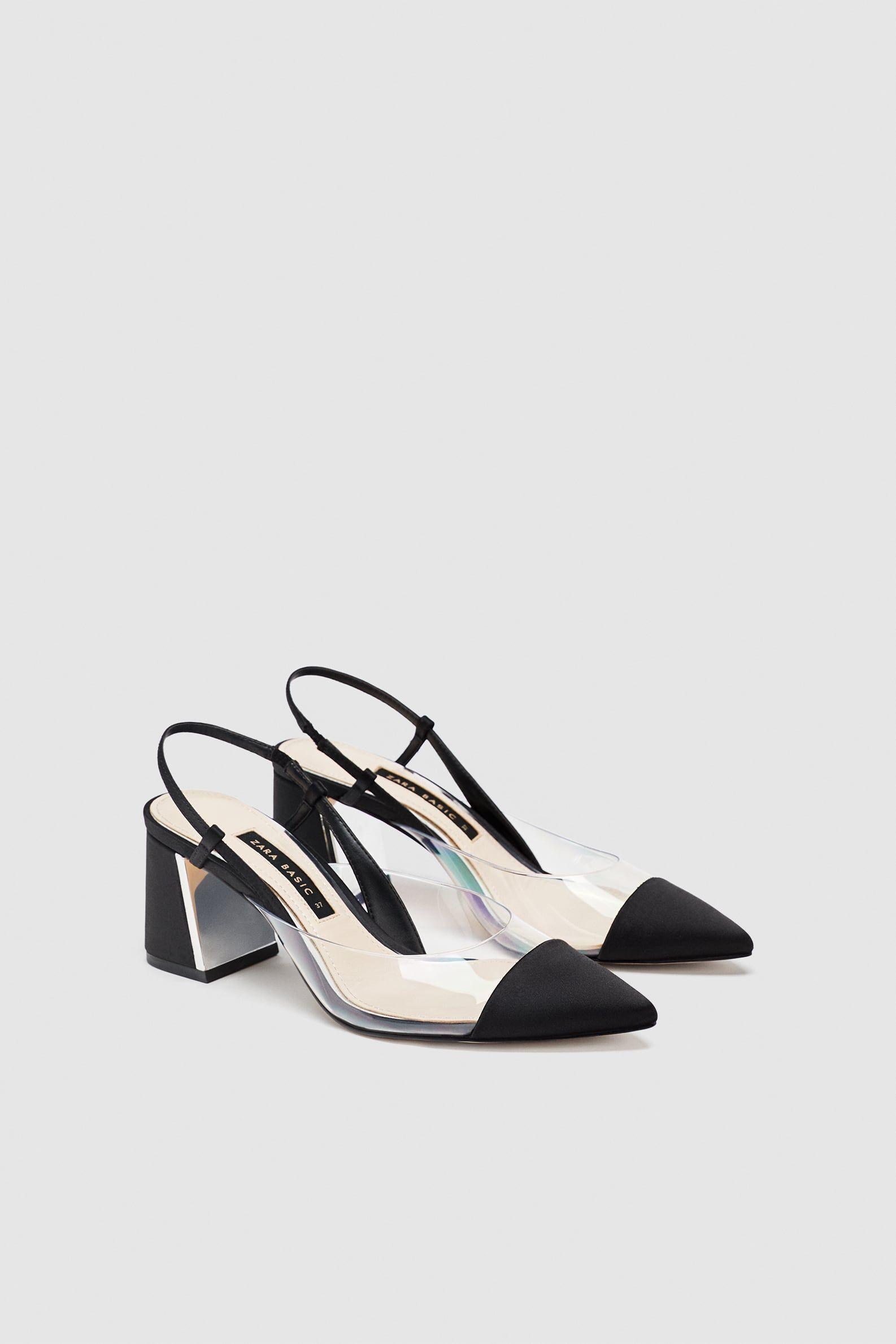 Heeled slingback vinyl shoe   Slingback shoes, Black