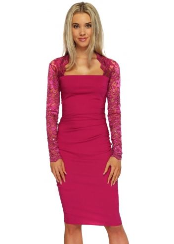 55730551c15f22 Goddess London Sequinned Lace Pleated Bodice Magenta Pencil Dress ...