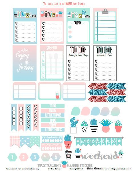 snazzy succulents planner stickers free printable planner. Black Bedroom Furniture Sets. Home Design Ideas