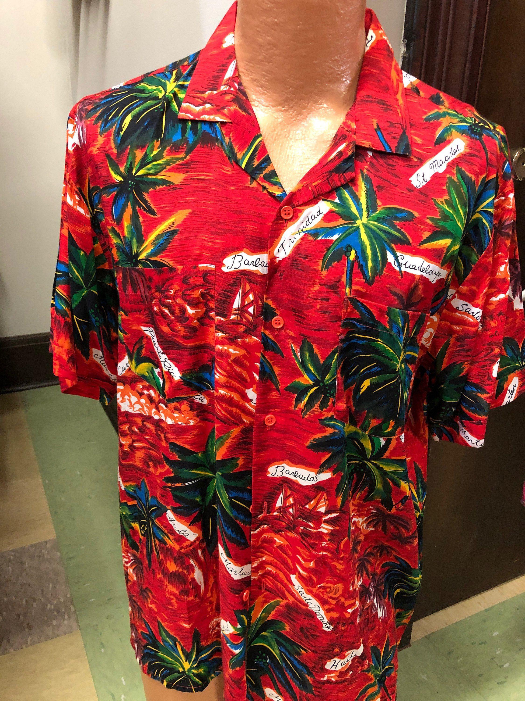665910c2 1960s/70s Vintage HAWAIIAN SHIRT Labeled Silky Hawaiian Fashions Rayon Hawaiian  Shirt Tropical Print Palm Trees Red Hawaiian Shirt Size XL