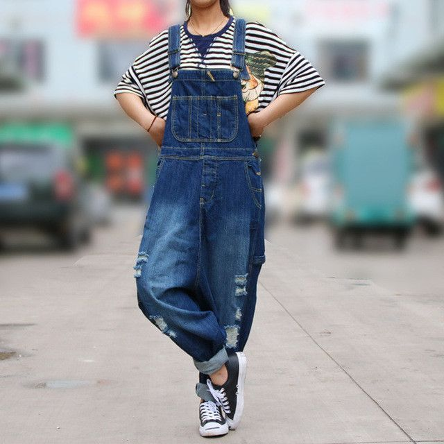 56cabac8220 Casual Loose Plus Size Denim Overalls Women Ripped Jean Jumpsuit Boyfriend  Wide Leg Jeans Harem Pants Trousers