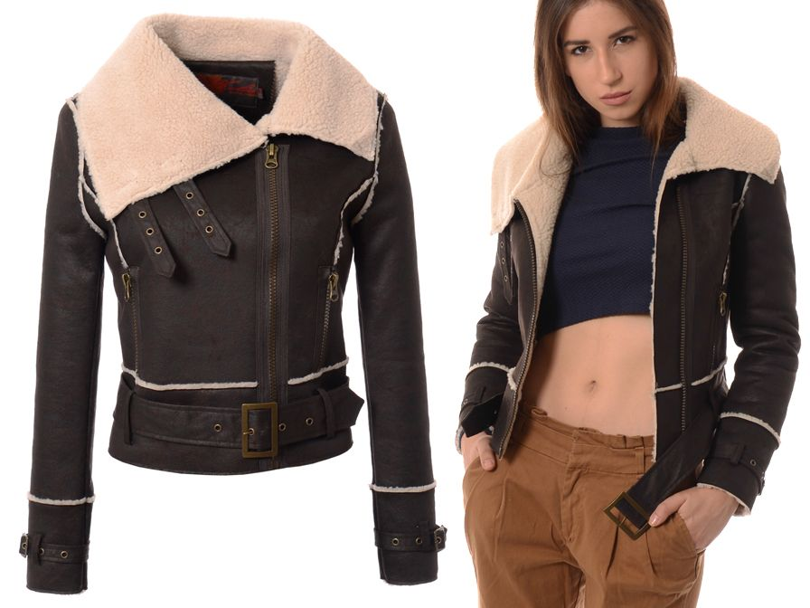 535 Damski Kozuszek Kurtka Ramoneska Brazowa M Jackets Leather Jacket Fashion
