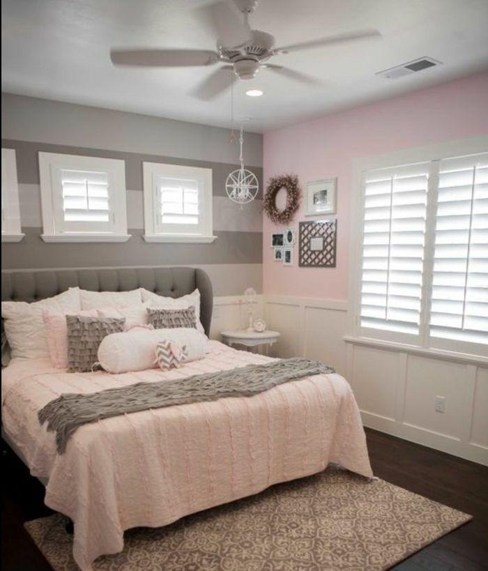 1001 conseils et id es pour une chambre en rose et gris sublime tapis oriental lit gris et. Black Bedroom Furniture Sets. Home Design Ideas