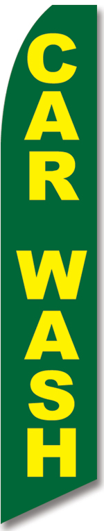Car wash green yellow swooper banner sign flag - Click Image to Close
