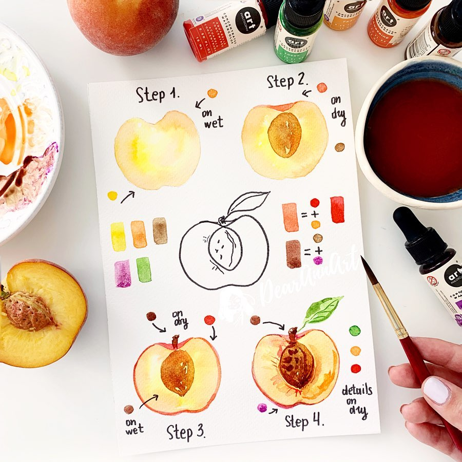 Love watercolor? Learn how to paint a peach with watercolor by step-by-step watercolor tutorial. Tap here to view this tutorial and many more.