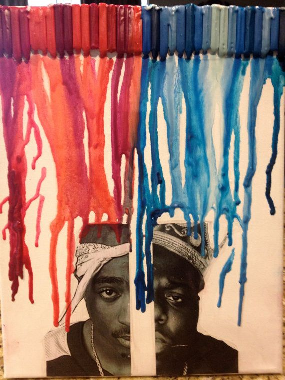 Tupac and Biggie Smalls melted crayon art! #East #West only $15.00 on etsy :)