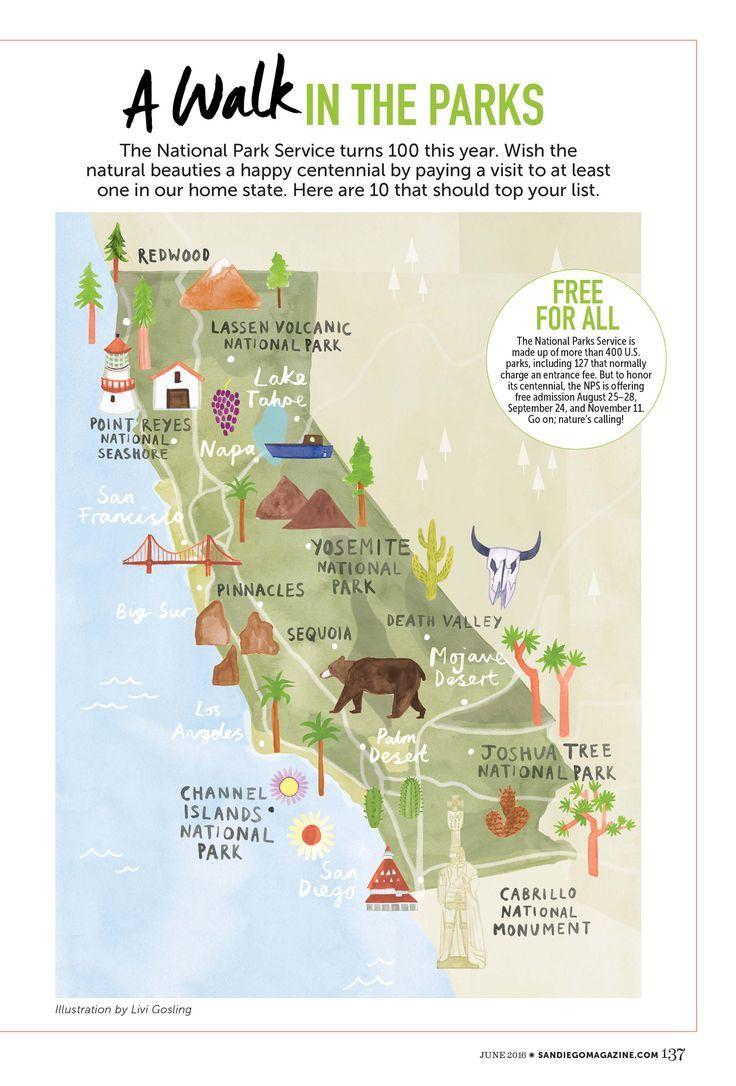 livi gosling map of california national parks