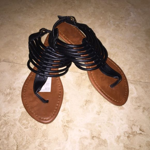 Black leather a like sandals Used. Size 36/US 6 Shoes Sandals