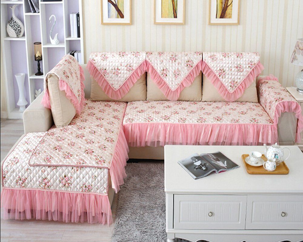 Spritech Tm Sofa Slipcover Armrest Covers Slip Resistant Stylish Pink Flower Pattern Sofa Cover Protector So Designer Bed Sheets Sofa Covers Bed Cover Design