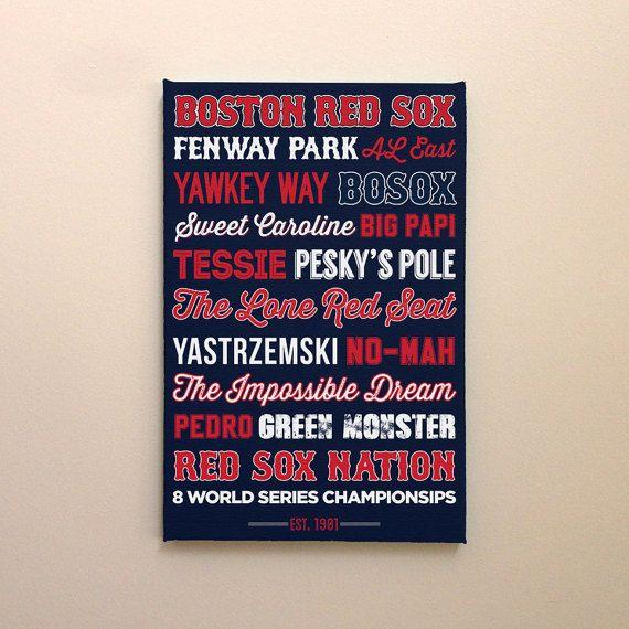 Boston Red Sox Bosox Canvas Poster Wall Art Print Man Cave