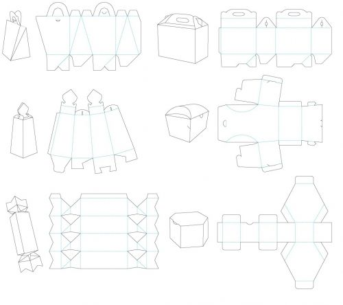 Layout For Cutting Boxes Packaging And Gift Scheme