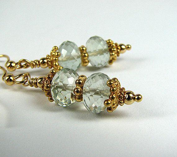 Green amethyst earrings 24k gold vermeil earrings Gemstone beaded earrings Pierced dangle earrings Beaded jewelry