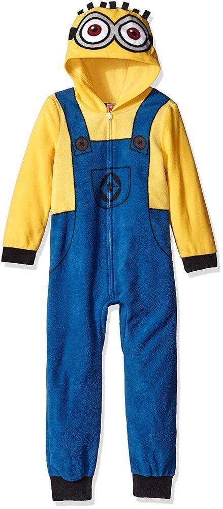 54f72fe87 Boys 6 DESPICABLE ME Minion Hooded Union Suit One Piece Fleece ...