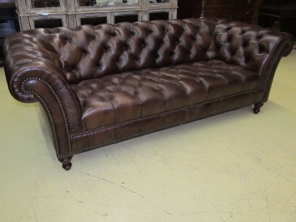 Tufted Brown Leather Sofa Stainless Steel Design Henredon Company Button Hand Rubbed Il7753 Ebay Us 5 899 00
