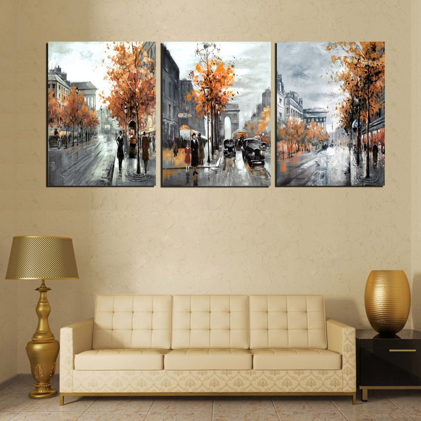 3 Panel Abstract Oil Painting Canvas Vintage Europe City Street Landscape Pictures Wall Decorative Paintings G Canvas Picture Walls Canvas Wall Art Wall Canvas
