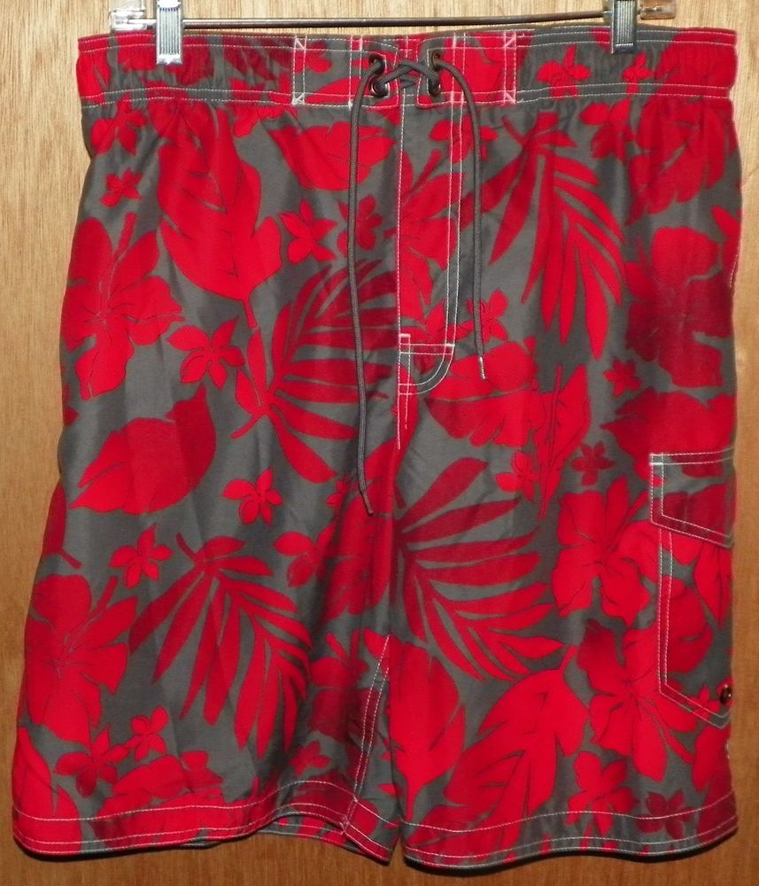 ba1001296c Sonoma Swim Trunks Board Shorts Size Large Red and Gray Floral #Sonoma # BoardShorts