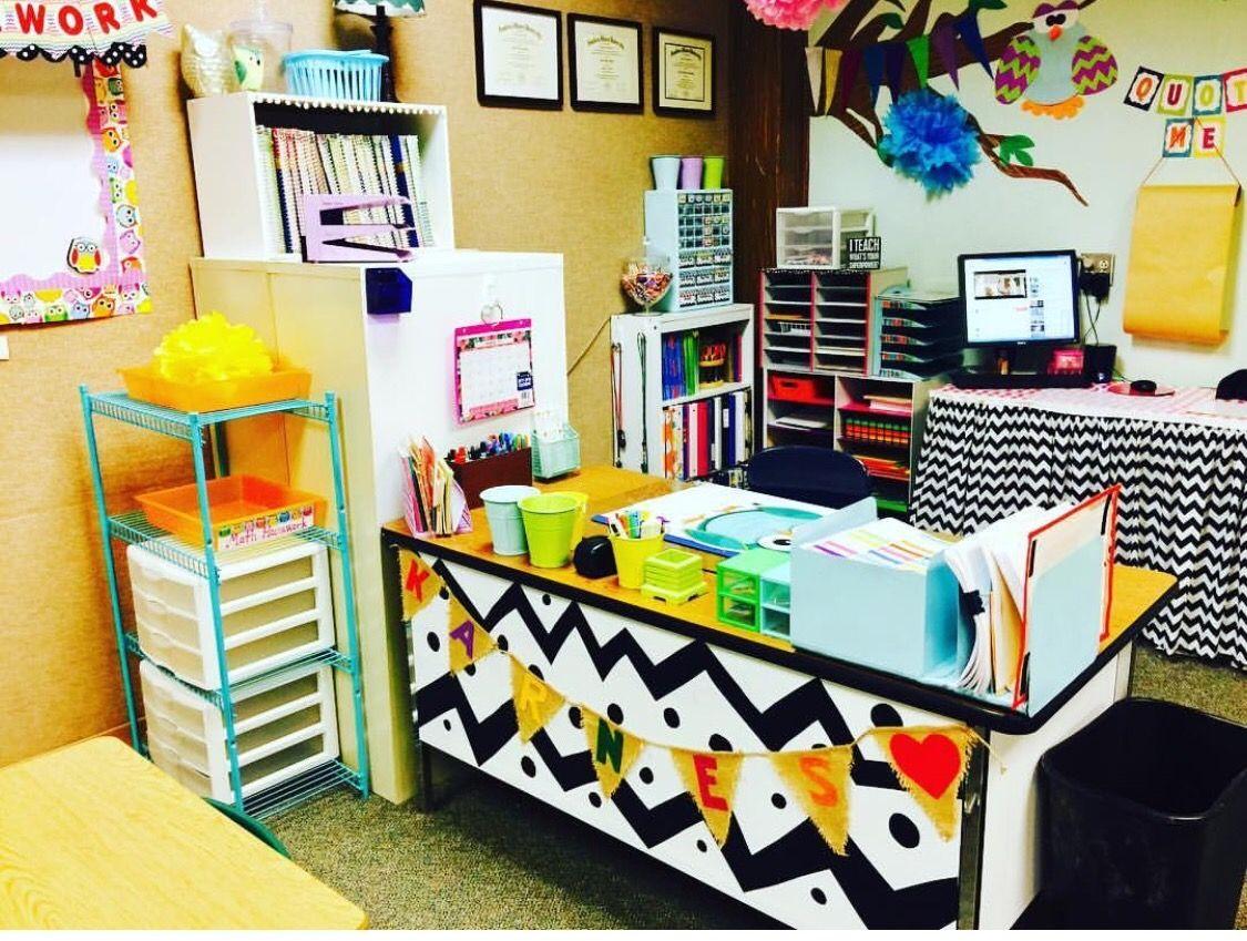 Colorful Classroom Decor Teacher Desk Inspiration Classroom Decor Classroom Decor Primary Teacher Desk