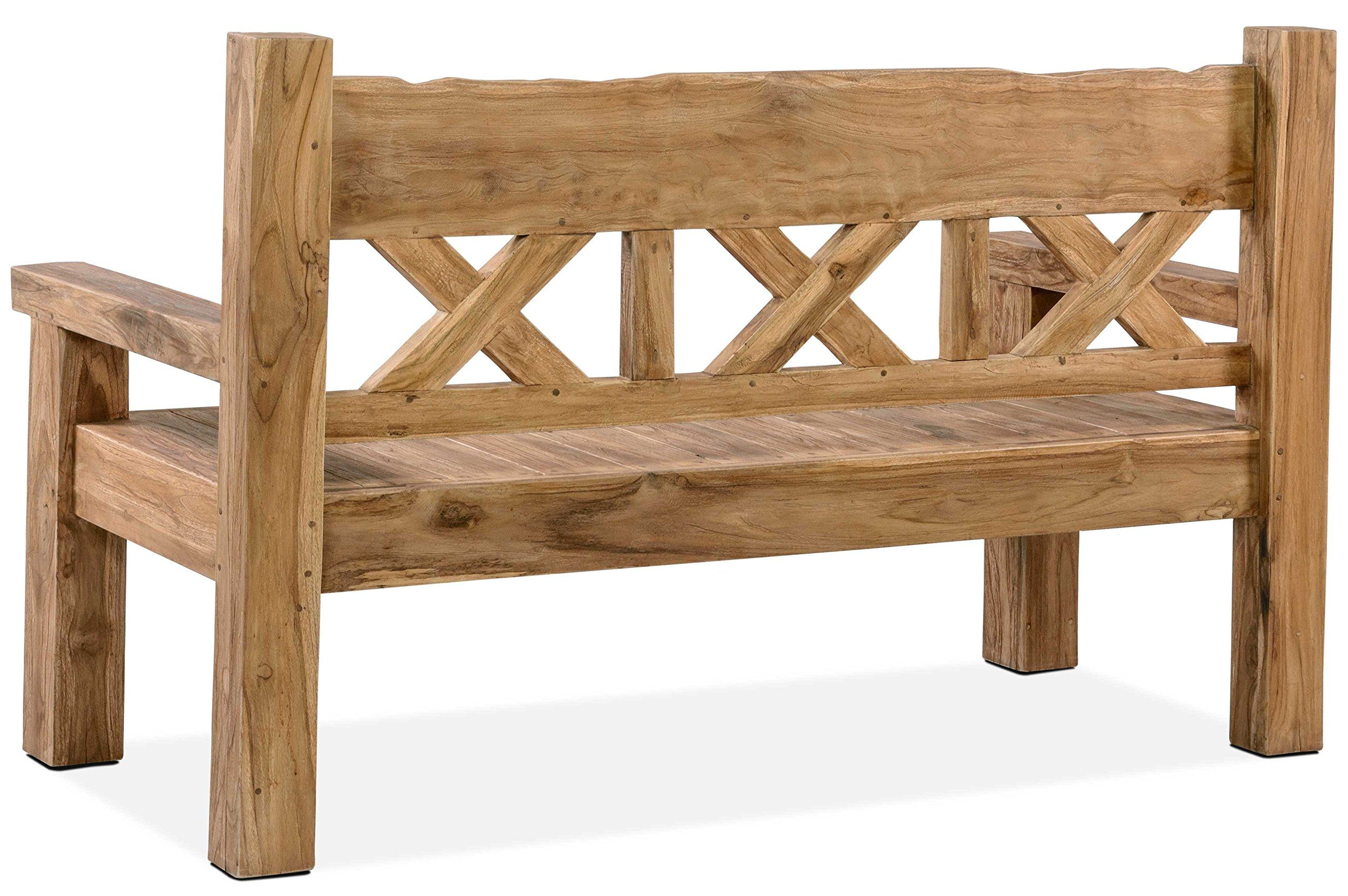 Amazon De Outflexx Gartenbank Grosse Sitz Bank In Natur Rustikal Geburstet Gartenbank Aus Teak Holz Holzbank Ca 160 In 2020 Wooden Bench Outdoor Wooden Bench Decor