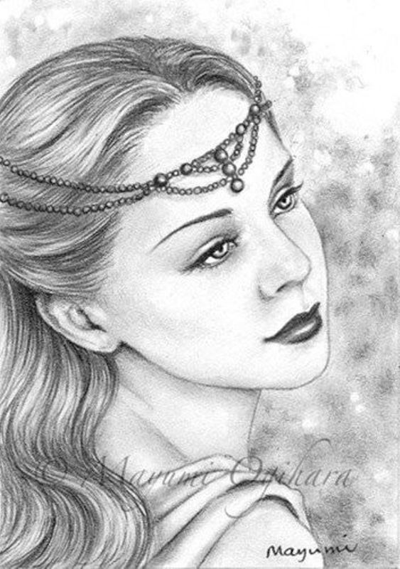 Pearl tiara original aceo pencil drawing fantasy art 2 5 x 3 5