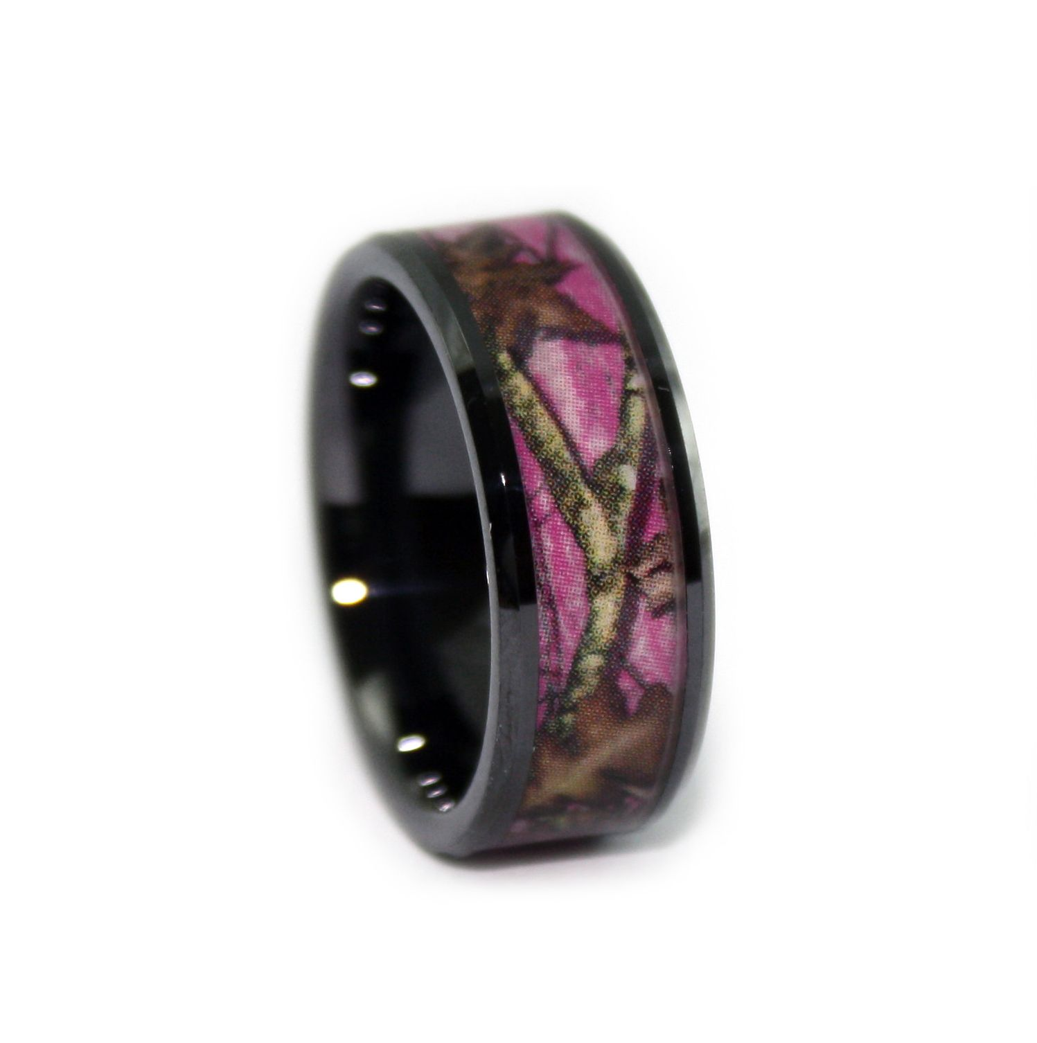 Pink Camo Wedding Rings Black Ceramic Band by 1 CAMO Pink mossy