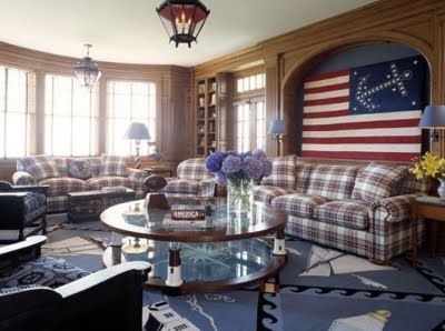Nautical Living Room Red White Blue