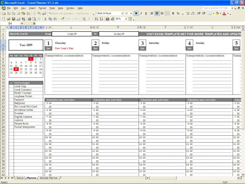 Travel Planner Template Excel Travel Itinerary Template