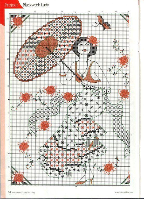 Chica En Rojo blackwork Kit florashell