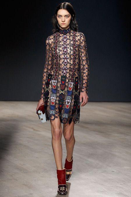 Mary Katrantzou F W 2014 Sheer Embroidered Dress Boot Heels Garance Dore Fashion Fashion Week London Fashion Week