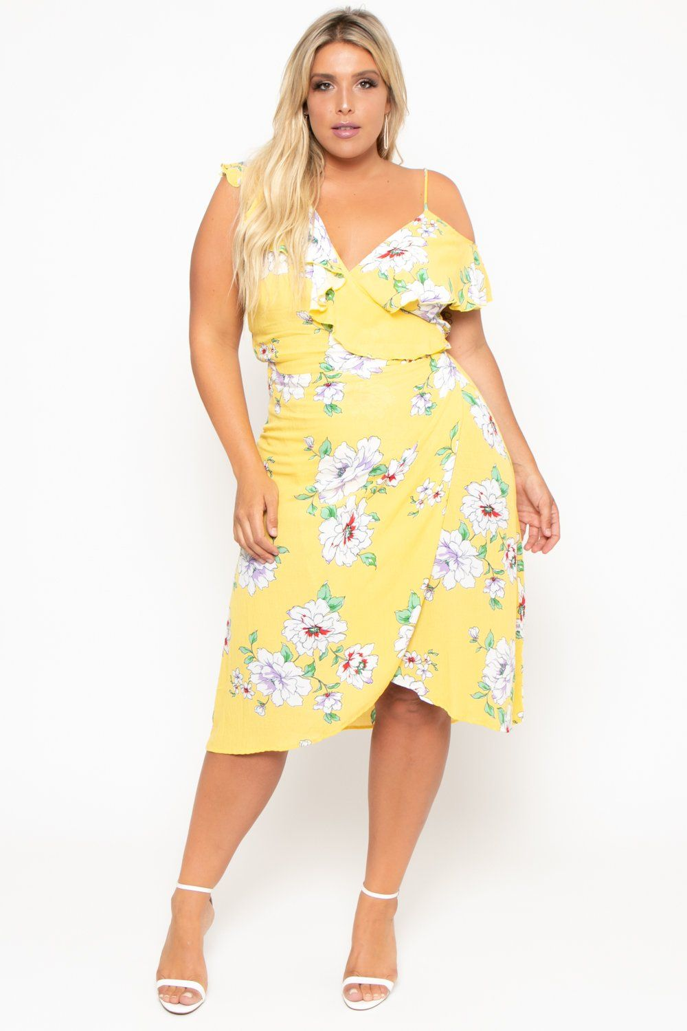 303d1b377edf Plus Size Ruffle Wrap Dress - Yellow