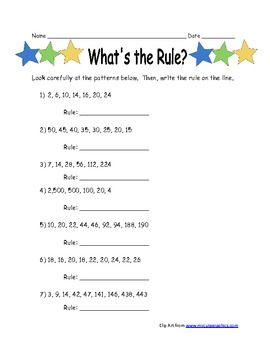 Patterns Ws For 5th Grade Identify The Rule Numerical Patterns
