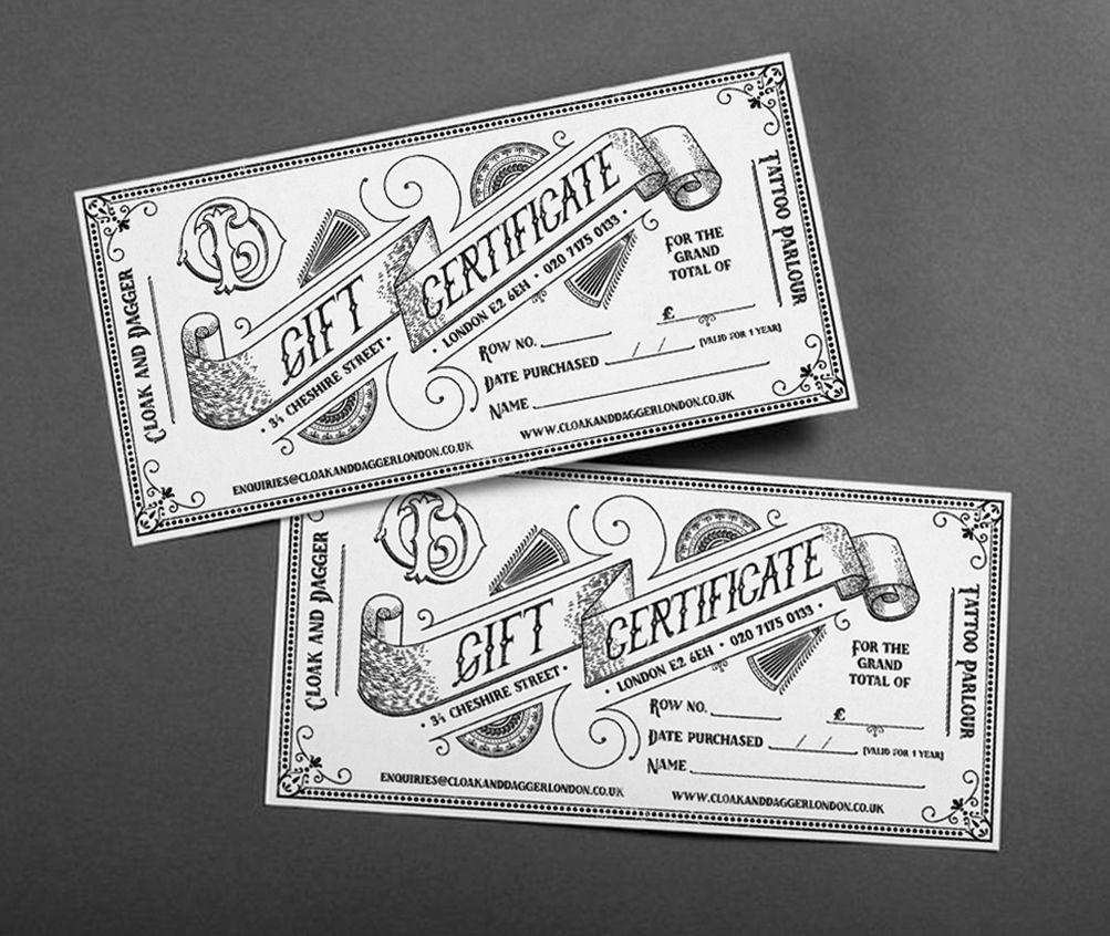 Bespoke handdrawn illustrative gift certificates and