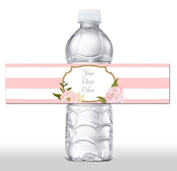 Instant Download Pink Floral Glitter Water Bottle Labels Bottle Wrapper B Water Bottle Labels Baby Shower Glitter Water Bottles Baby Shower Water Bottles