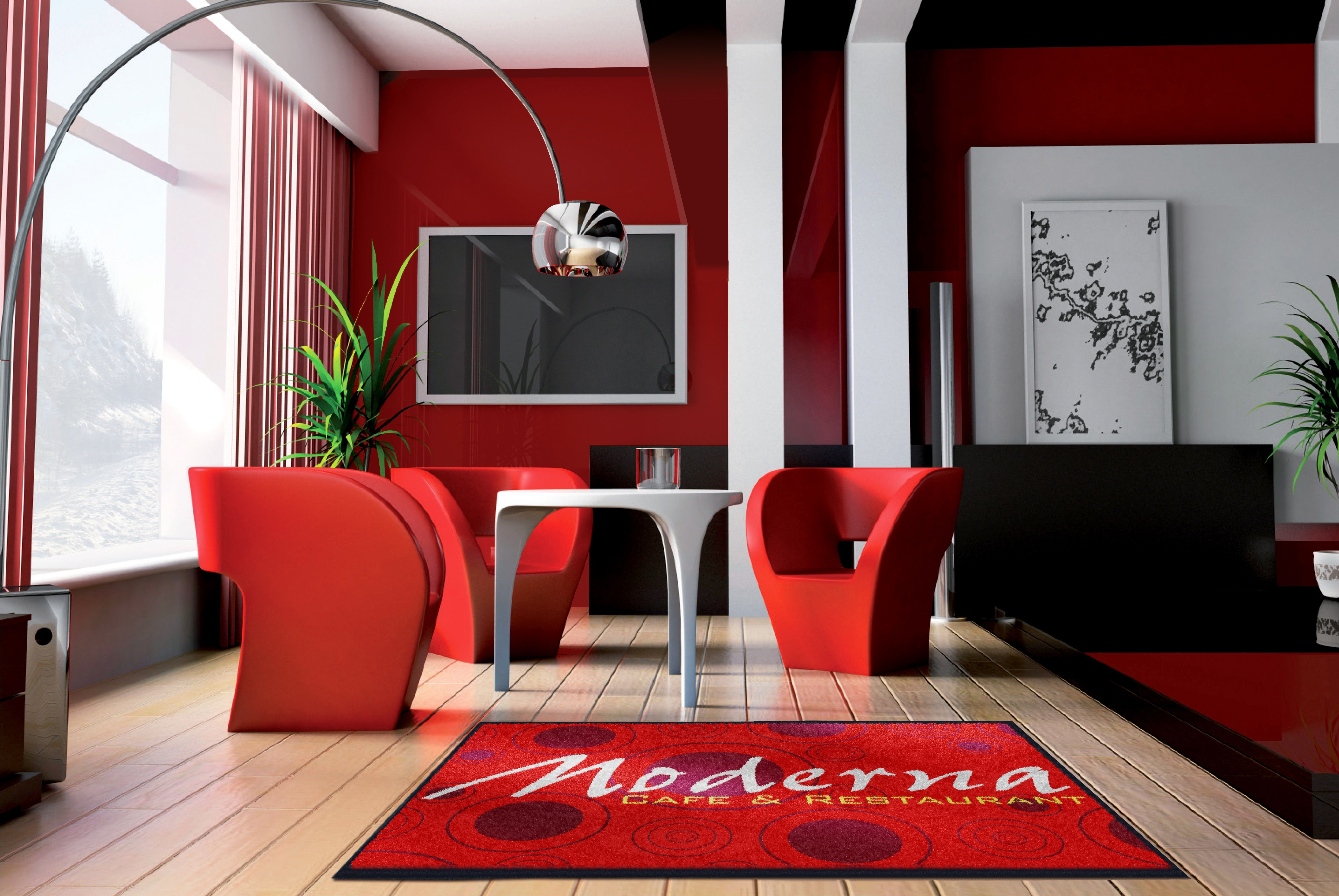 Dare to wear Red…Our logo mats look impressive in any