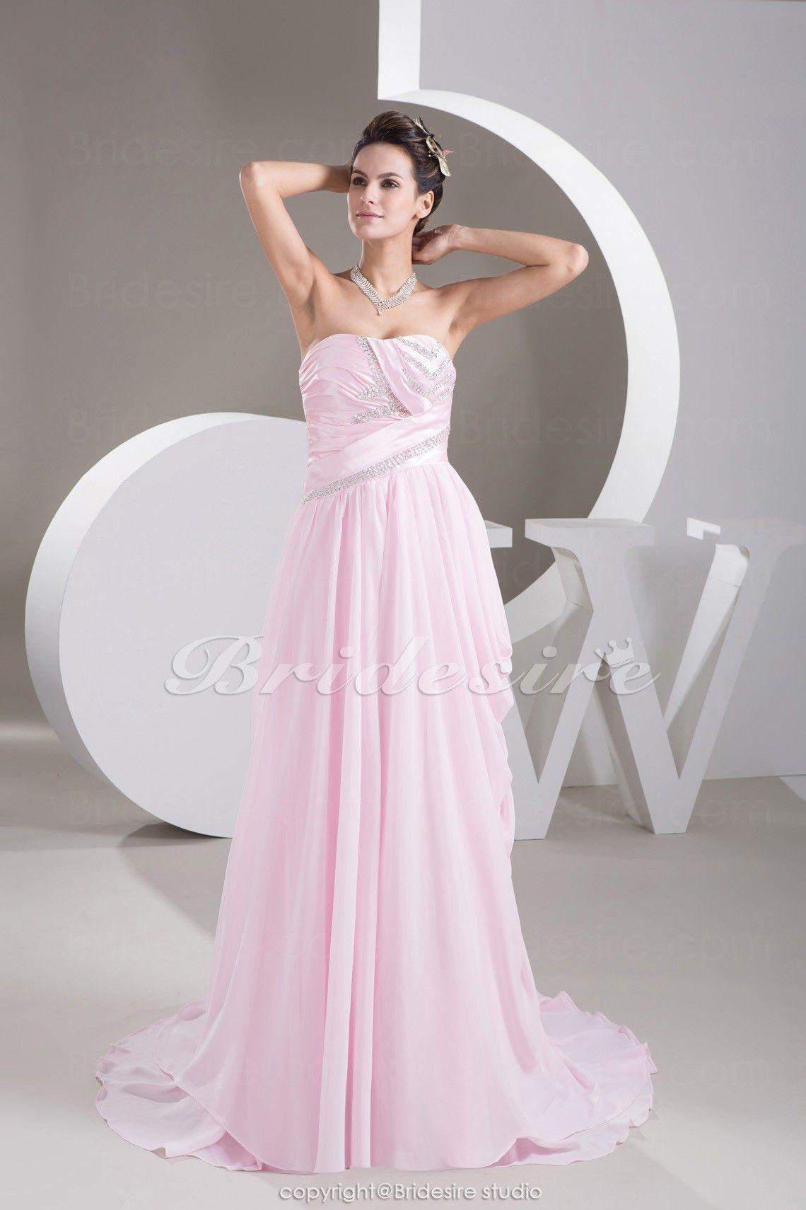 Sheath/Column Strapless Sweep/Brush Train Sleeveless Chiffon Stretch Satin Dress $211.99 Long Evening Dresses