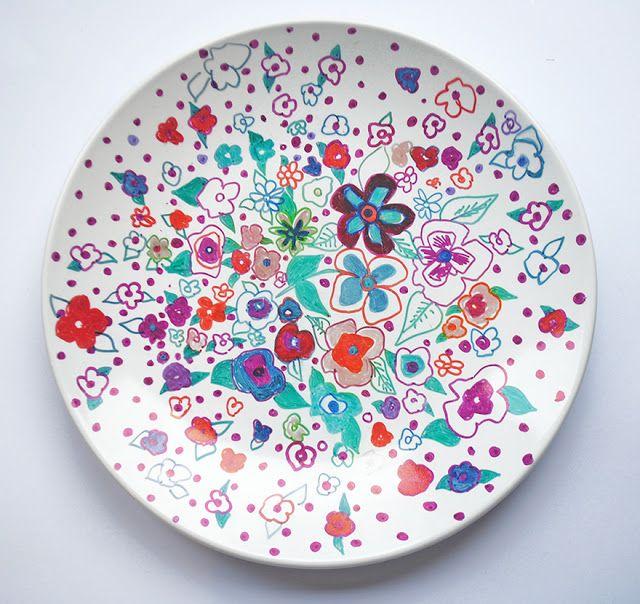 My DIY sharpie ceramic plates for my mum\u0027s Christmas Present by Nikkistrange  sc 1 st  Pinterest & Love the colors -\u003e N I K K I S T R A N G E: Christmas Gifts: DIY ...