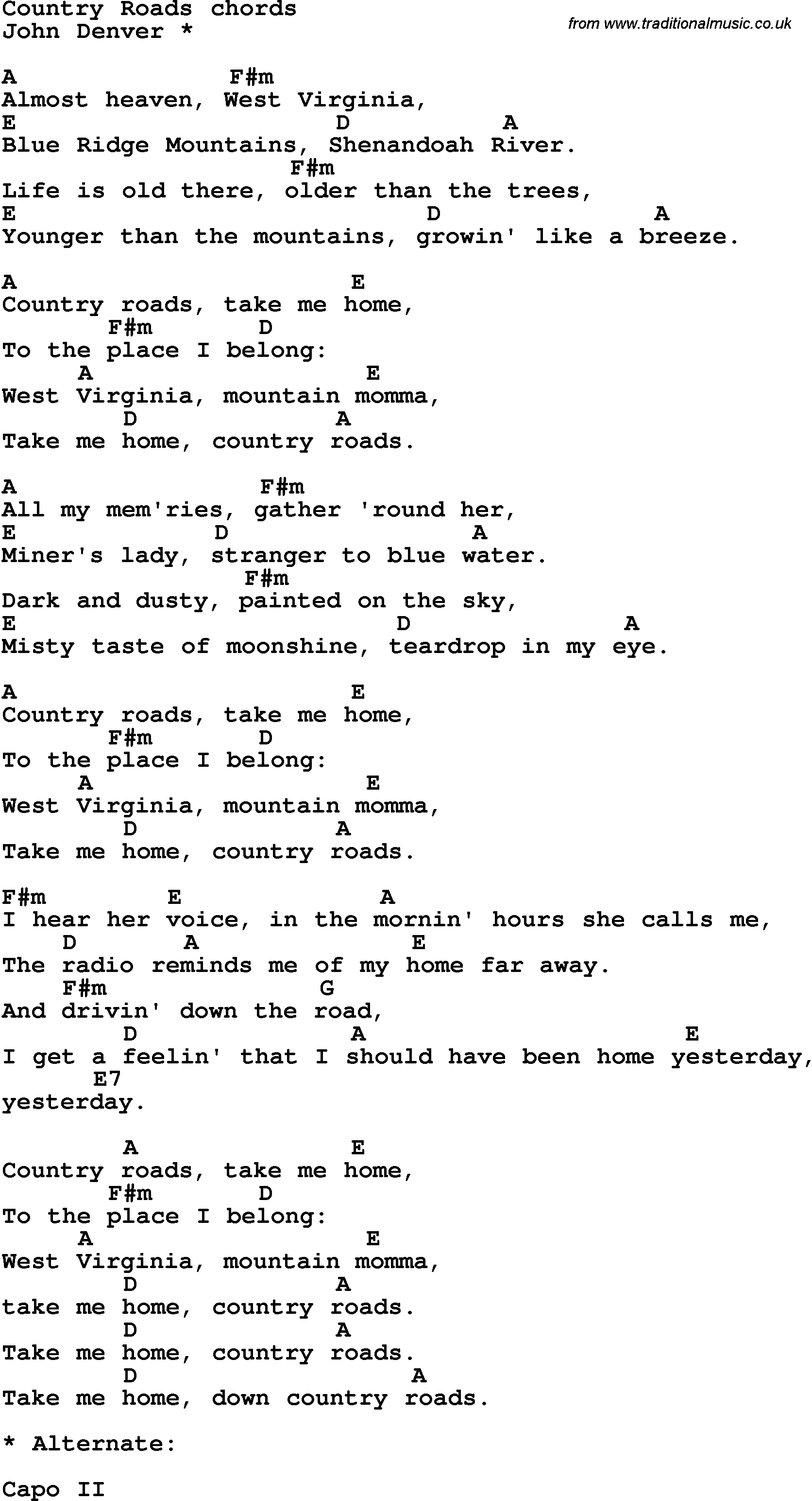 song lyrics with guitar chords for country roads guitar chords in 2019 guitar chords for. Black Bedroom Furniture Sets. Home Design Ideas