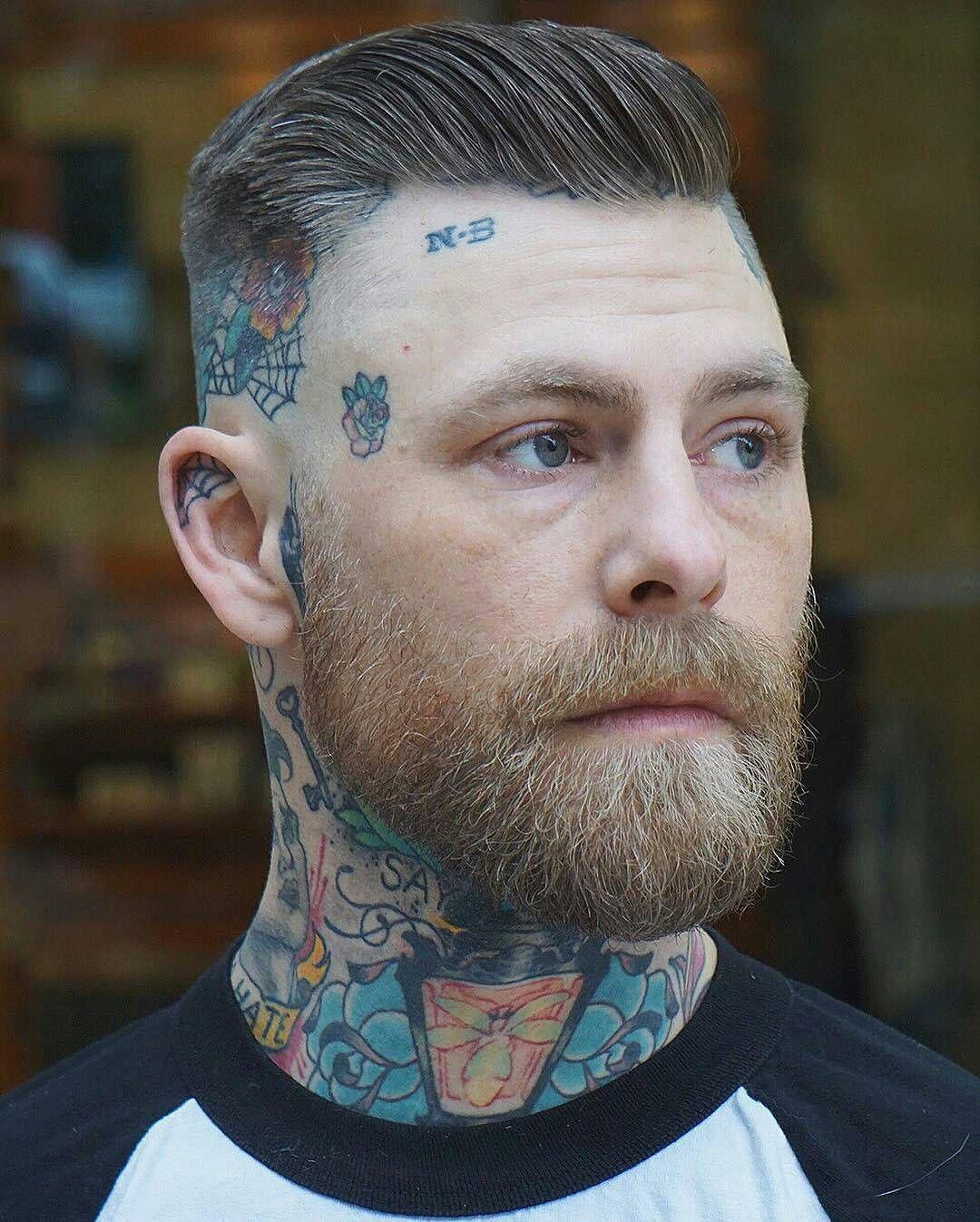 Modern pompadour beard - Skin Fade Side Part Pompadour Styled With Box Beard