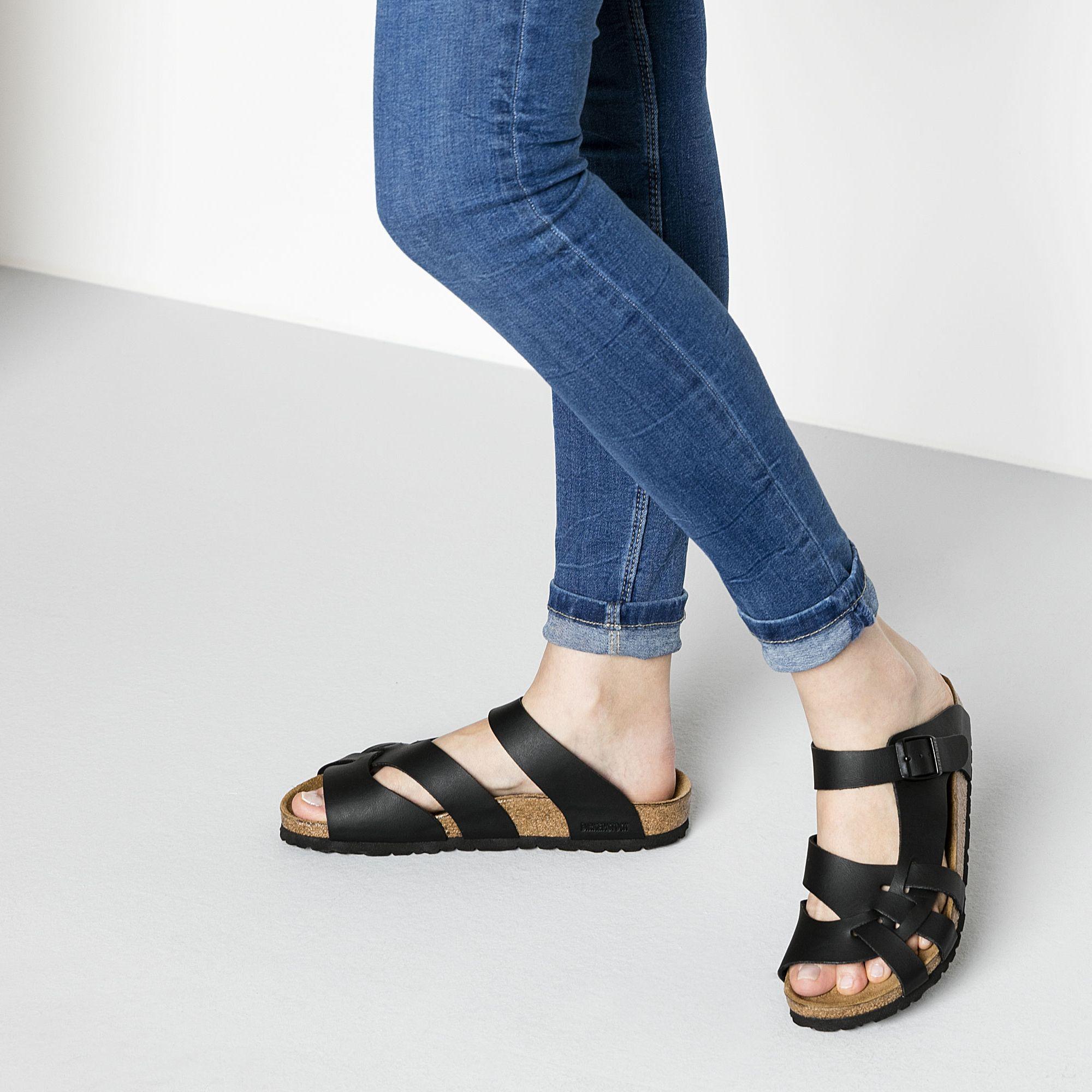 Pisa Birko Flor Black | Birkenstock, Leather sandals, Shoes