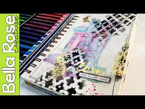 Gold Foiling Technique + Inktense Blocks - Mixed Media Art Journal - YouTube