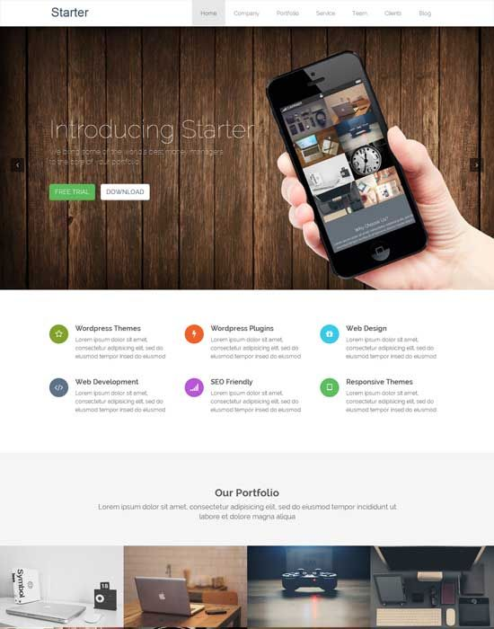 Starter – Free Responsive WordPress One page Theme | project ...
