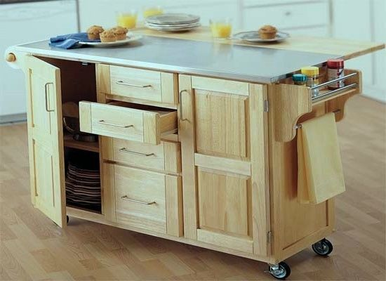 Rolling Kitchen Island Drop Leaf Stock Off The Shelve Cabinet, With Drop  Leaf Added To