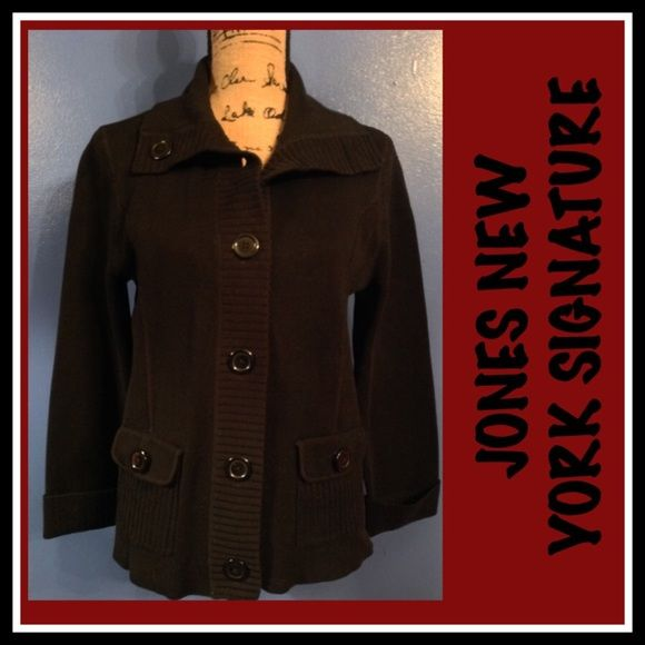 JONES NEW YORK SIGNATURE SWEATER JACKET JONES NEW YORK SIGNATURE SWEATER JACKET SZ L🌺 🍭🍒❤️ Jones New York Sweaters