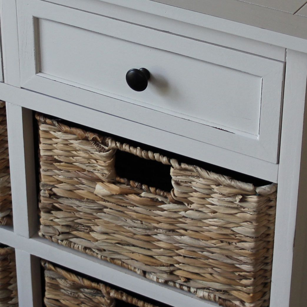 Cream Wicker Storage Unit Two Drawer Four Baskets