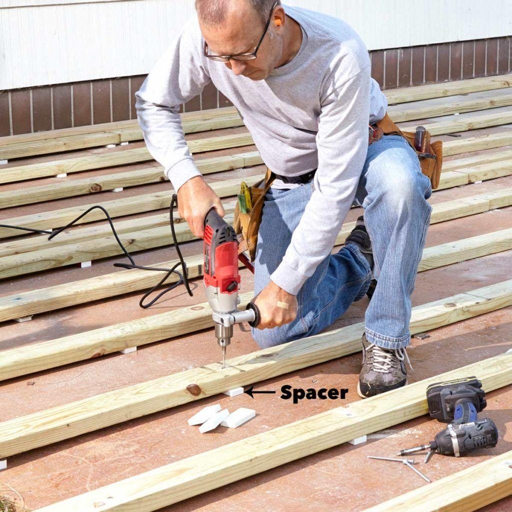 How To Build A Deck Over A Concrete Patio Building A Deck Concrete Deck Deck Over Concrete