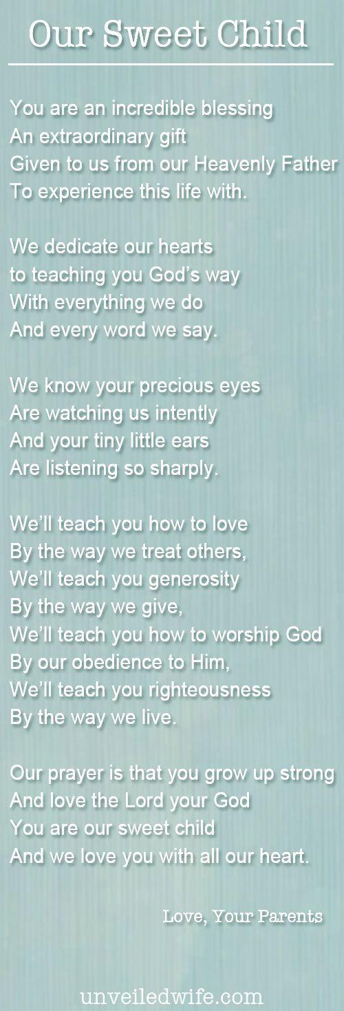 A Baby Dedication Poem | Pastor, Poem and Raising