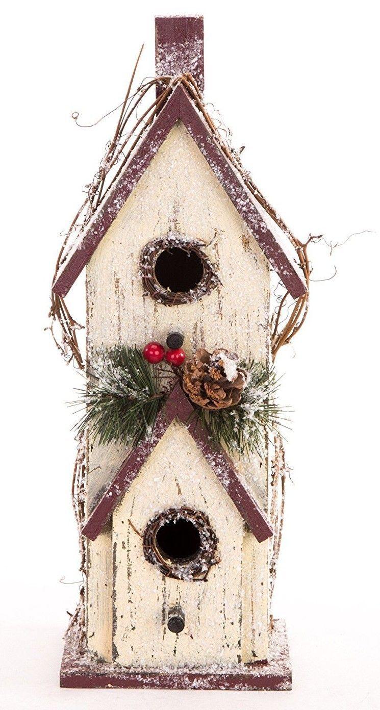 Wooden Garden Snowy Hanging Bird House