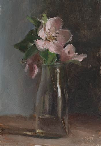 Quince Blossom In A Jar A Daily Painting By Julian Merrow